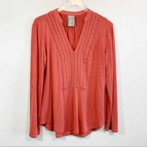 Anthro Dolan Bryn long sleeve pin tuck top coral